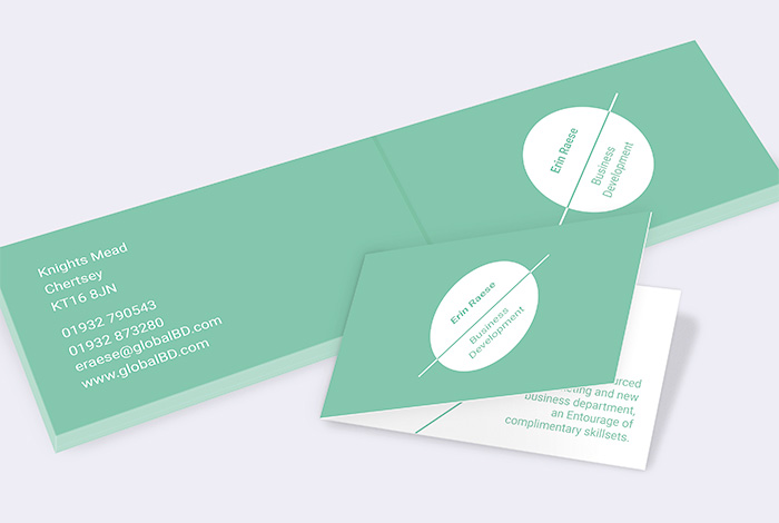 Slim Double Sided Folded Business Card