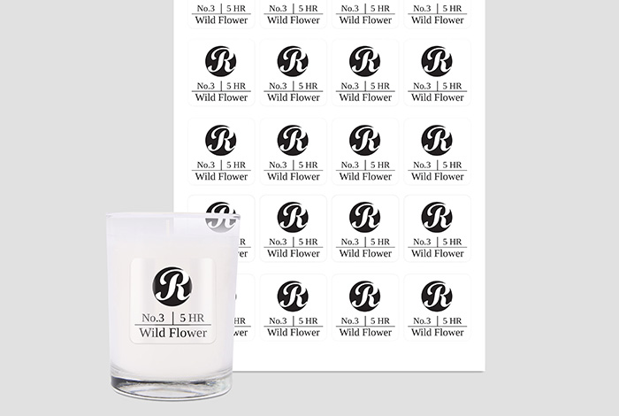 Clear labels square 45 x 45mm gloss finish