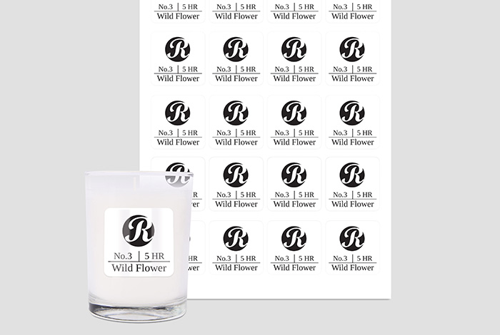 Waterproof Labels Square 45 x 45mm Gloss Finish