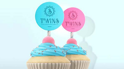 Thanks for coming to my twins baby shower 60mm stickers x 24-choice of colours