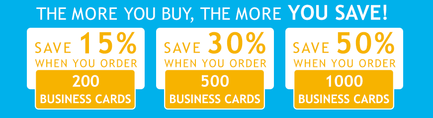 The more business cards you buy, the more you save!