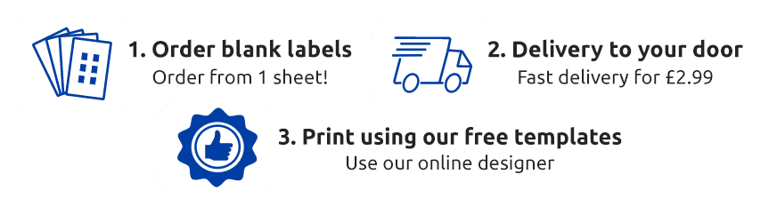 Order blank labels, delivery to your door, print using our free templates