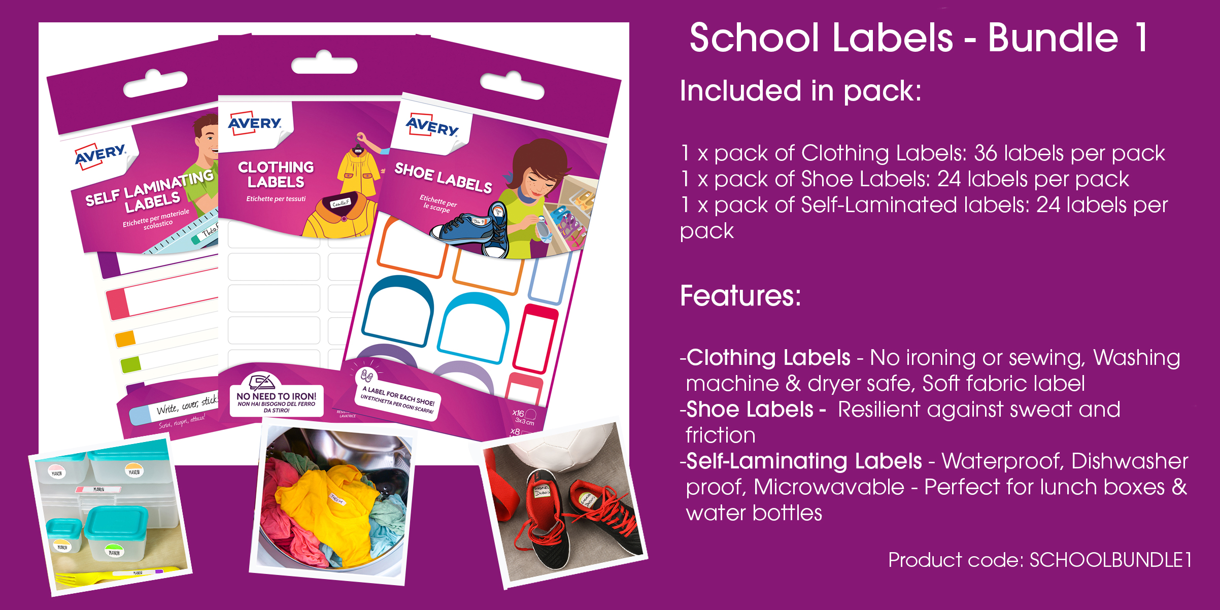 Avery School Labels - Value Pack 1