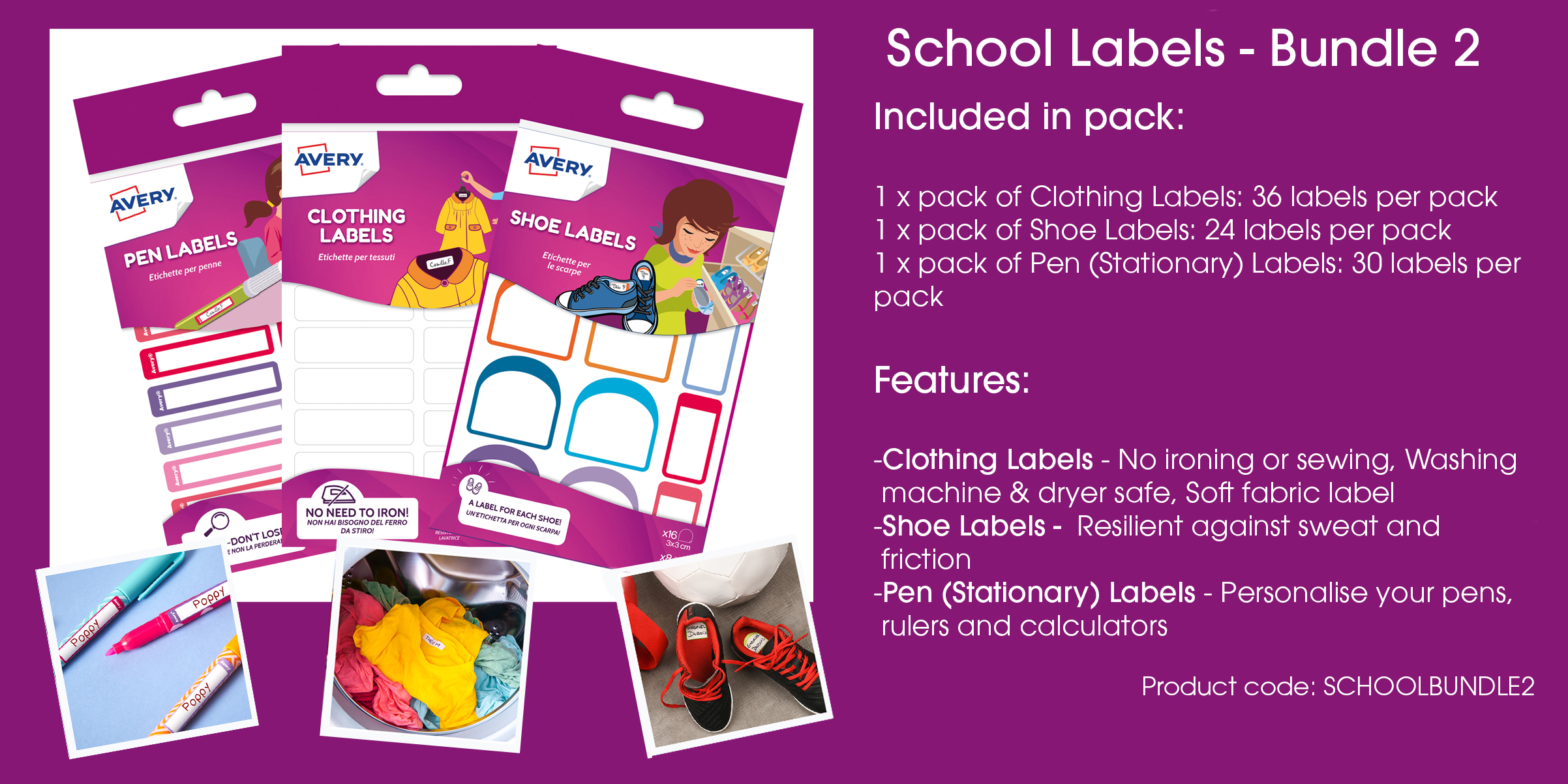 Avery School Labels - Value Packs