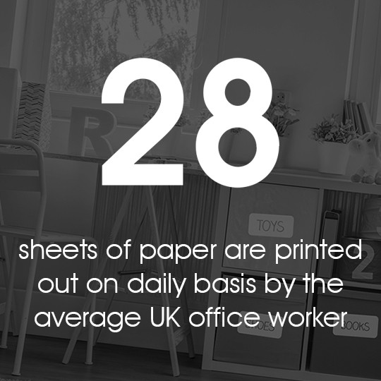 28 sheets of paper are printed out on daily basis by the average UK office worker