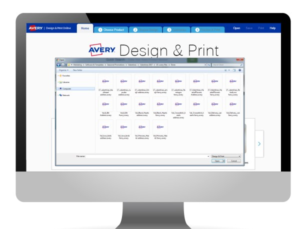 Avery Design & Print – load a saved project from your computer