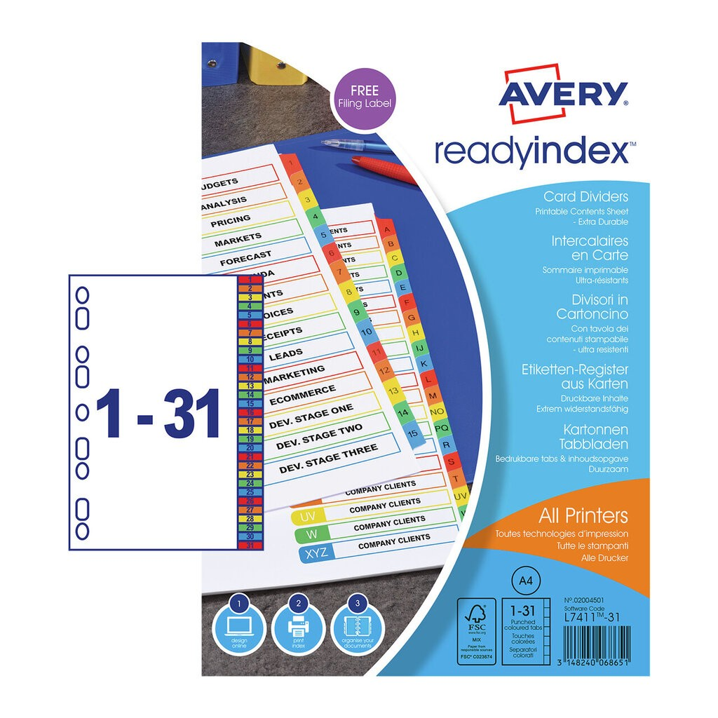 Ready Index Dividers 02004501 Avery