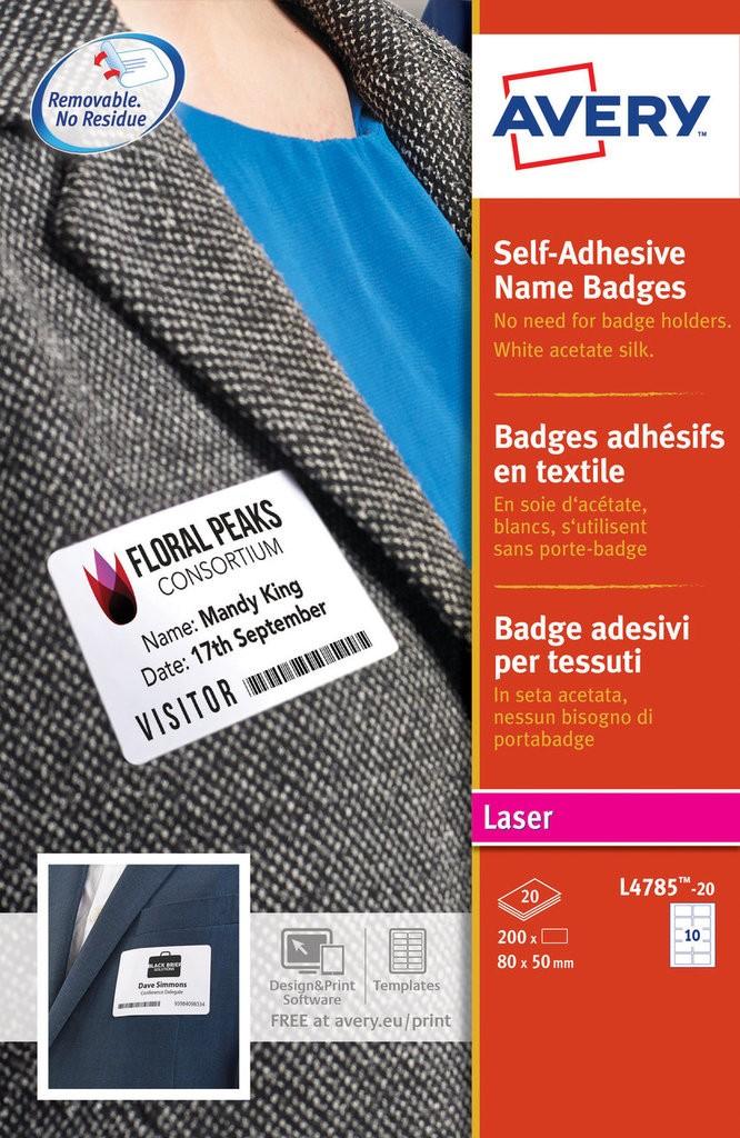 Self Adhesive Name Badges L4785 20 Avery