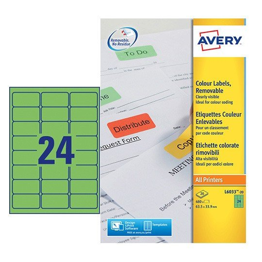 Coloured Labels L6033 20 Avery