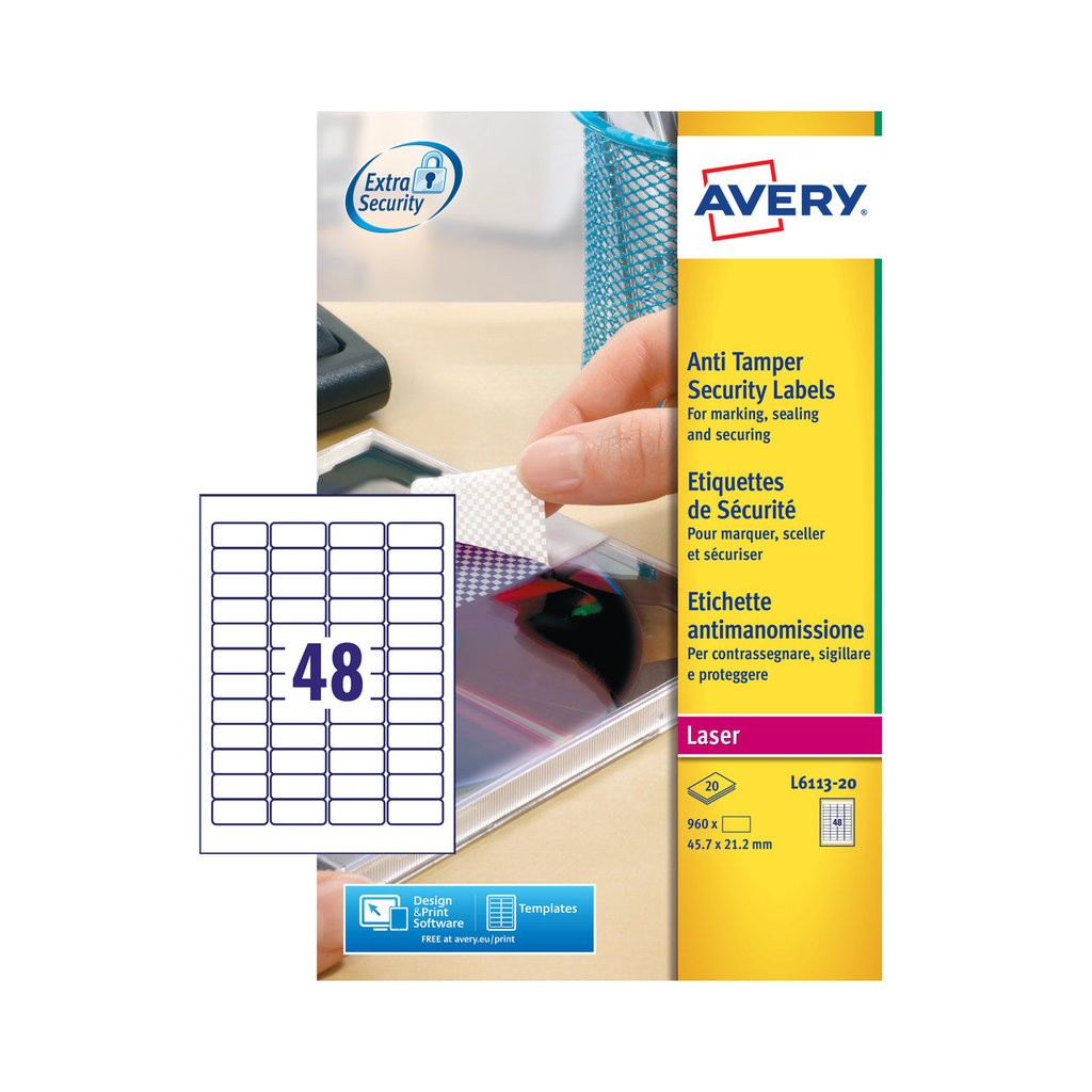 Anti Tamper Labels L6113 20 Avery