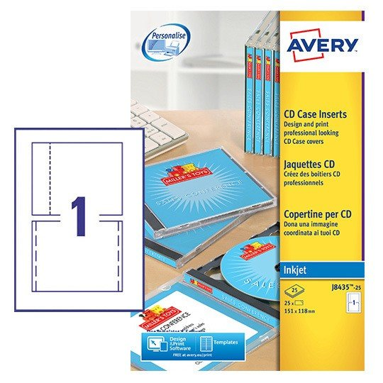 cd case inserts j8435 25 avery