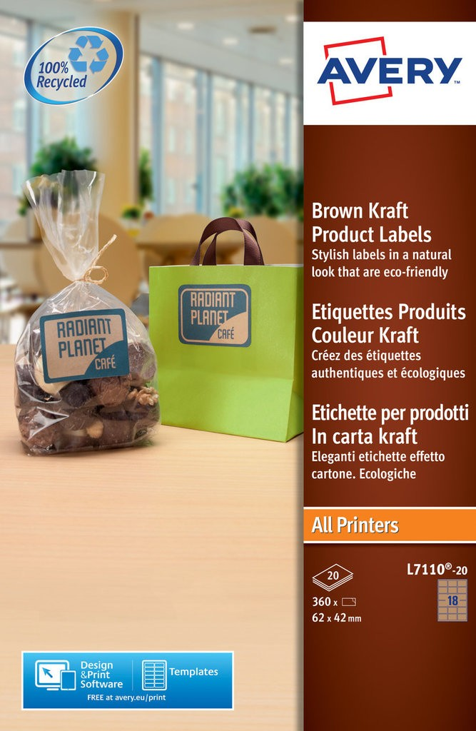 kraft labels 62 x 42 mm all printer types brown