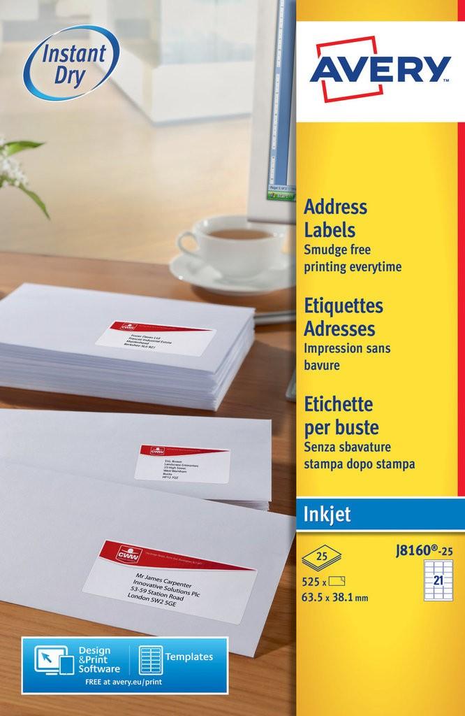 Address Labels J8160 25 Avery