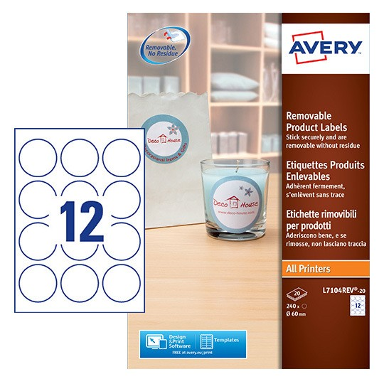 Round Product Labels L7104rev 20 Avery