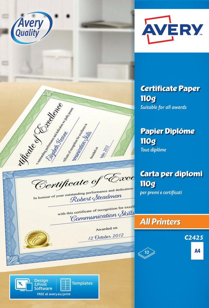 certificate paper c2425 avery