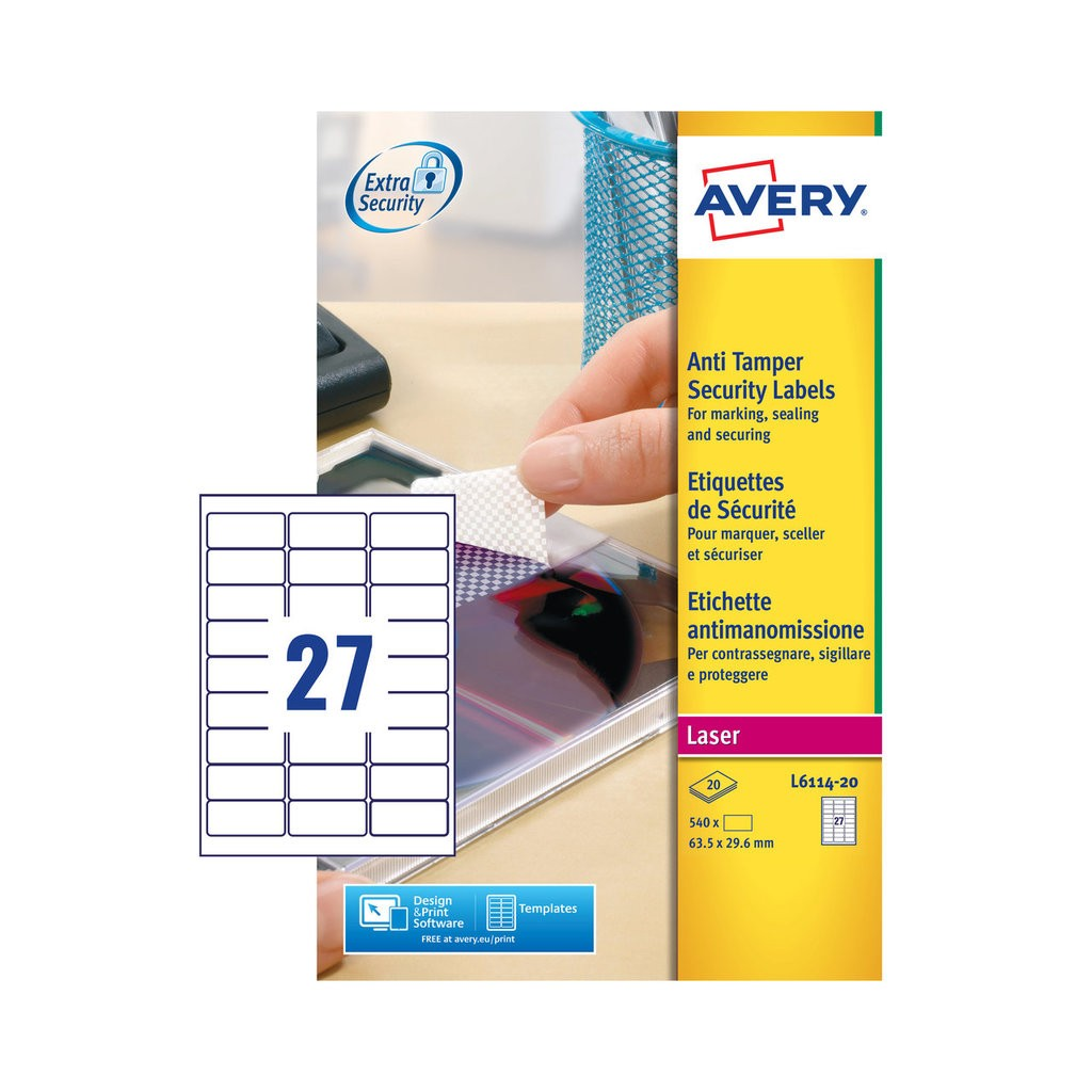 picture relating to Printable Tamper Proof Labels titled Anti-Tamper Labels L6114-20 Avery