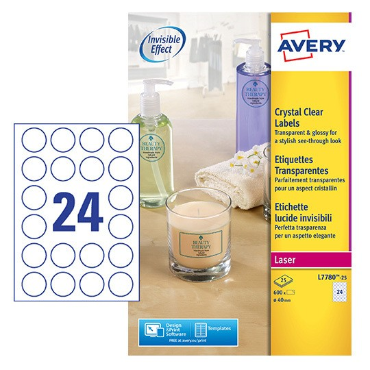 Round Crystal Clear Labels L7780 25 Avery