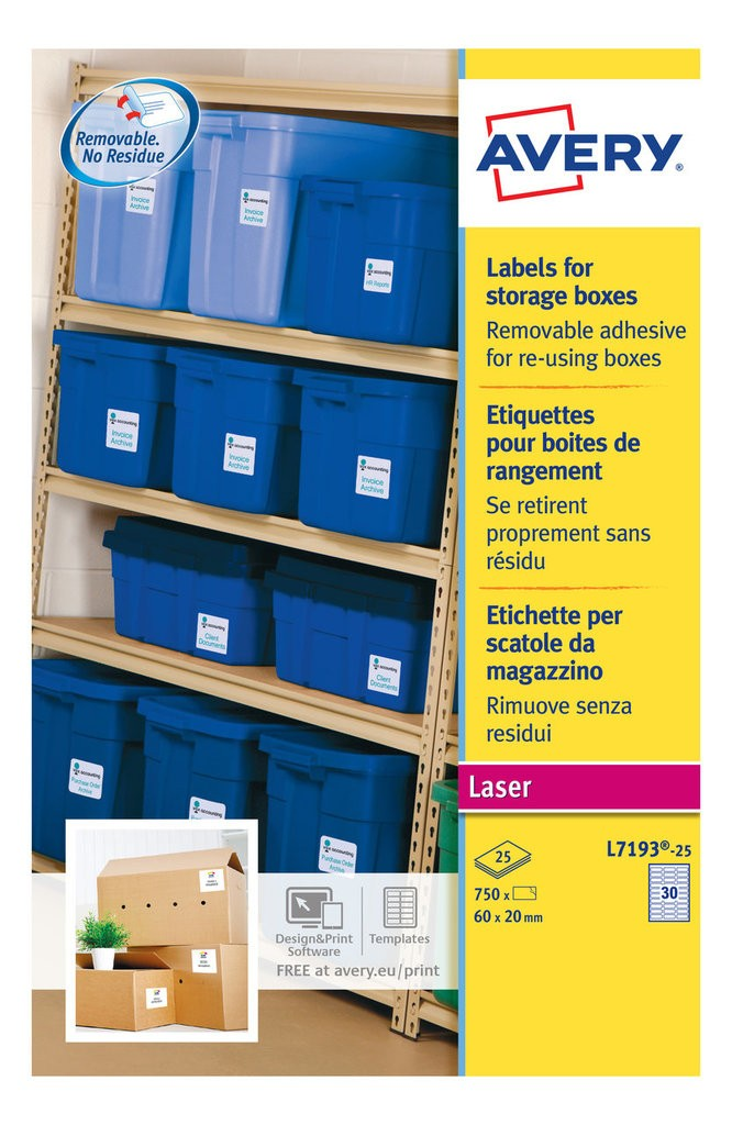 Storage box labels template moving