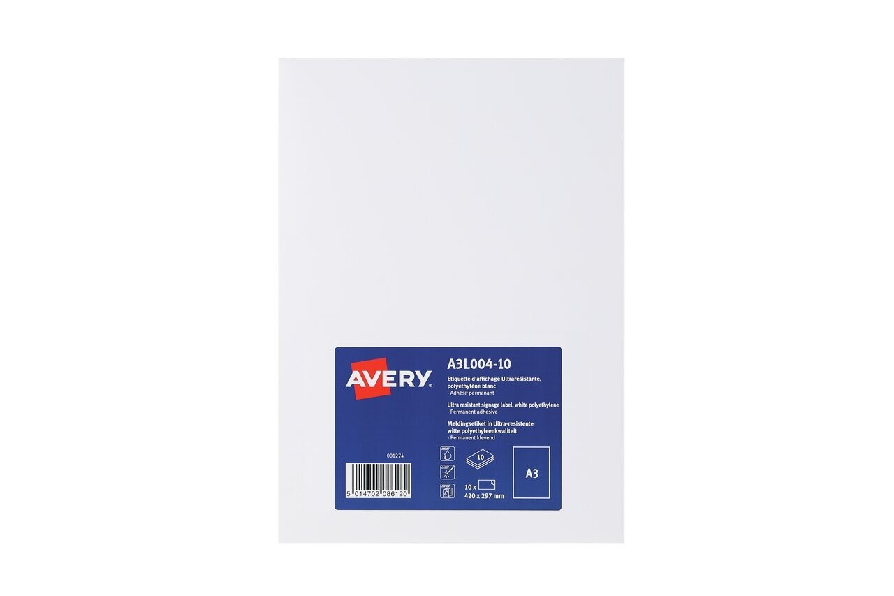 picture regarding Printable Signage titled A3 Printable Signage A3L004-10 Avery