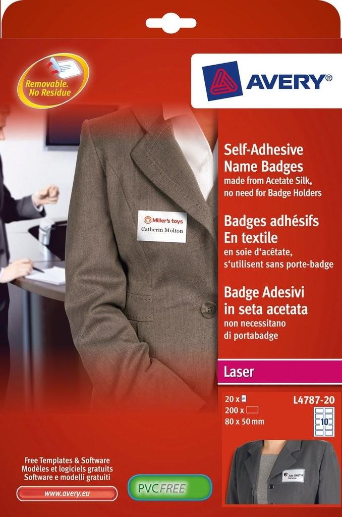 self adhesive name badges l4787 20 avery