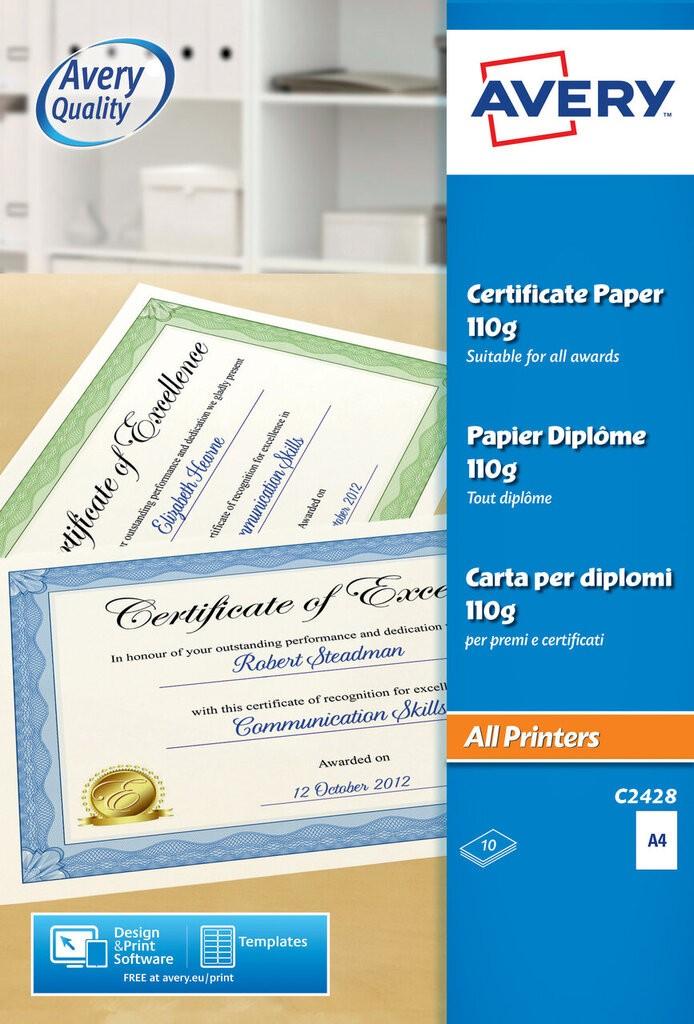 certificate paper c2428 avery