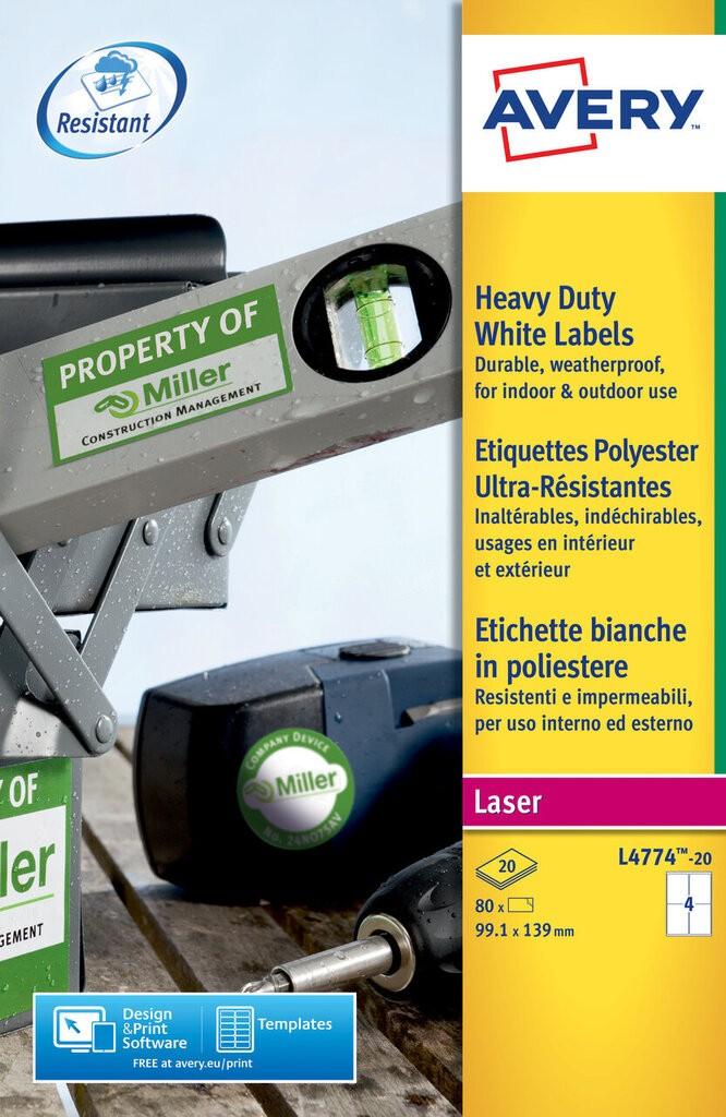 Heavy Duty Labels L4774 20 Avery
