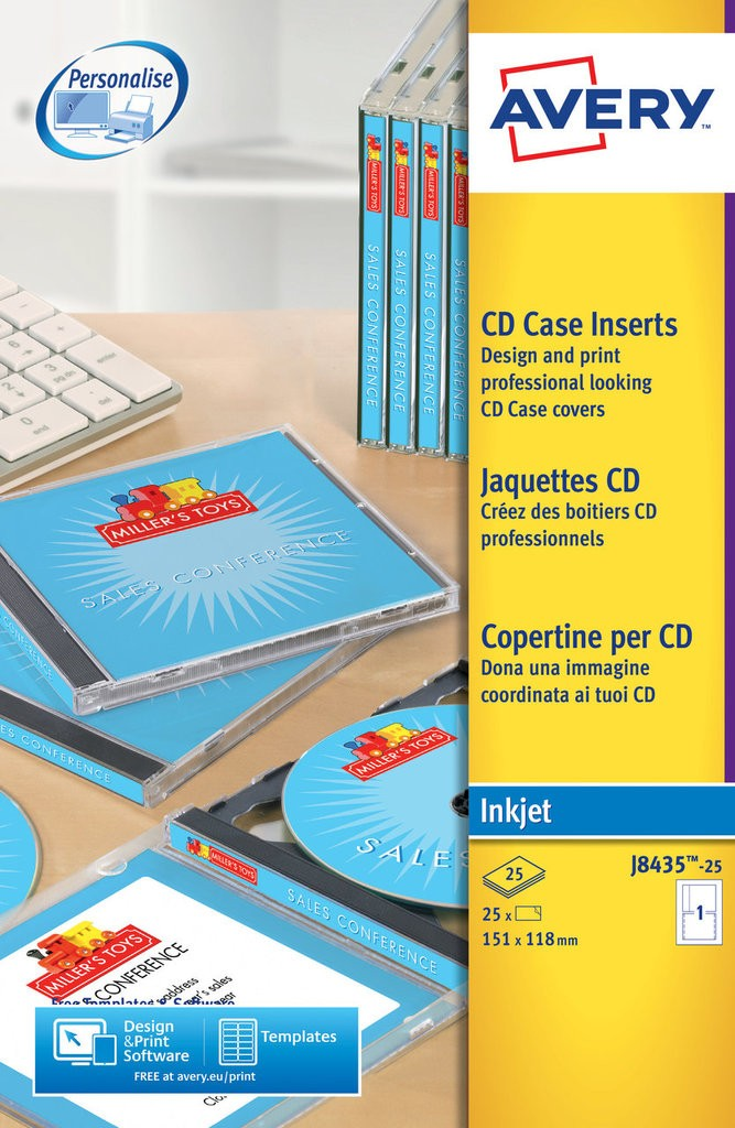Cd case inserts j8435 25 avery for Cd sleeve printing template