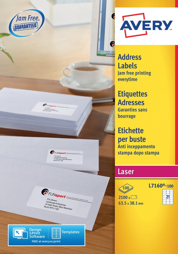 Address labels l7160 100 avery address labels 635 x 381 mm laser white pronofoot35fo Images