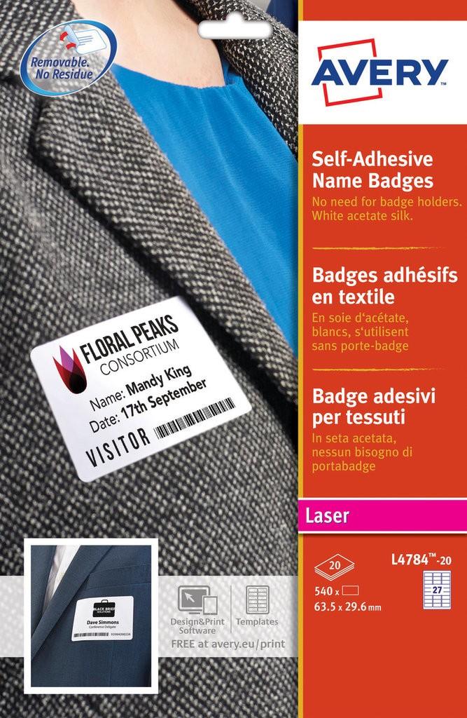 Self Adhesive Name Badges L4784 20 Avery