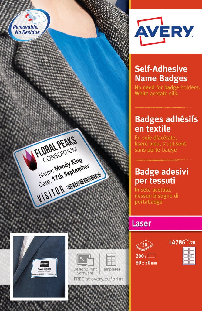 Self Adhesive Name Badges L4786 20 Avery