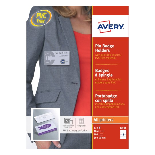 Avery 4831 Pin Badge Holders