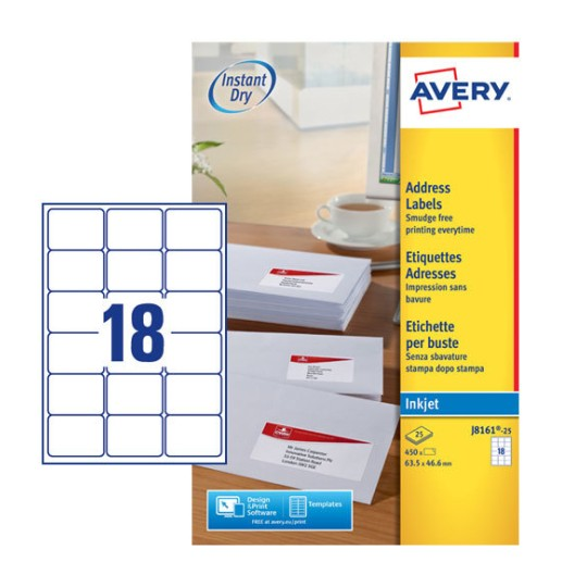 Address labels j8161 25 avery for Avery templates and software