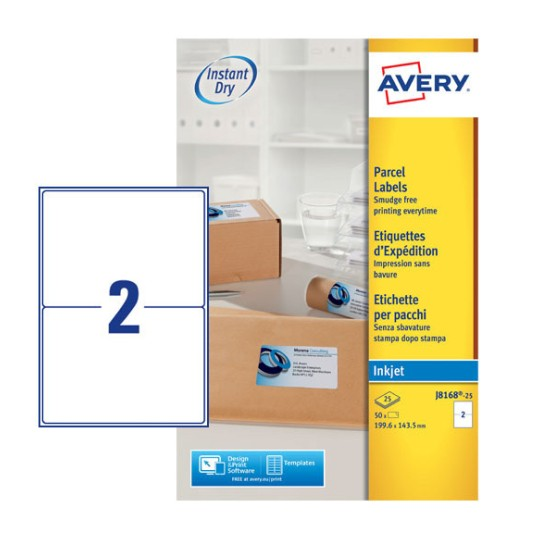Parcel labels j8168 25 avery for Avery 8168 template