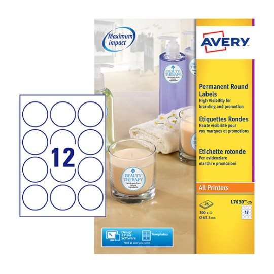 Round Product Labels L7630-25