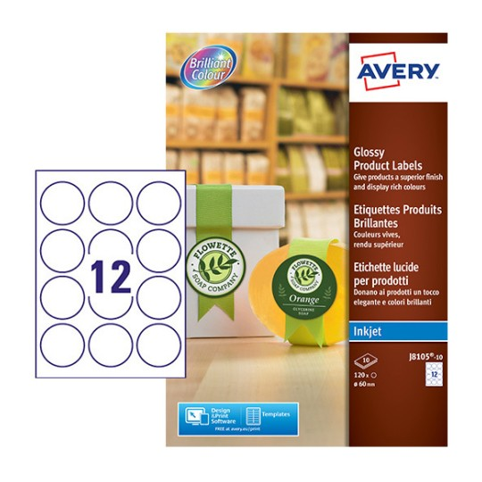 round glossy labels j8105 10 avery