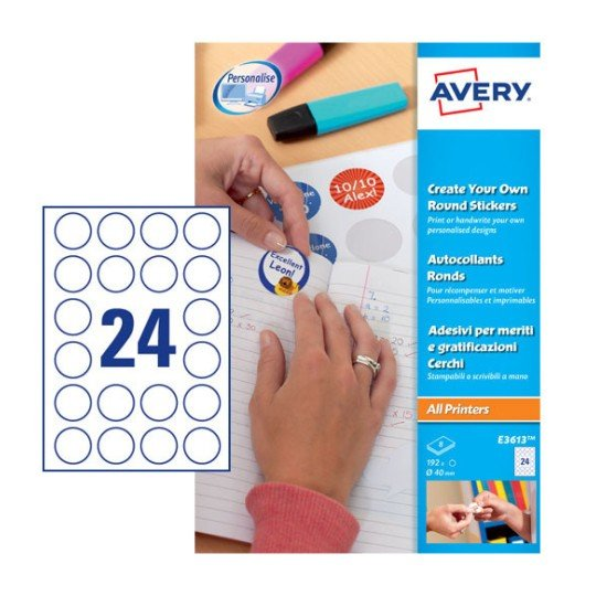 Round reward stickers e3613 avery