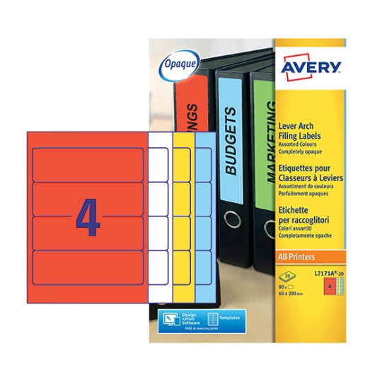 Filing Labels L7171A-20 Content: 80 Labels / 20 Sheet